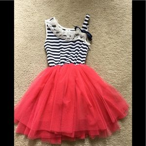 Girls size 3XL navy , white & coral tulle dress